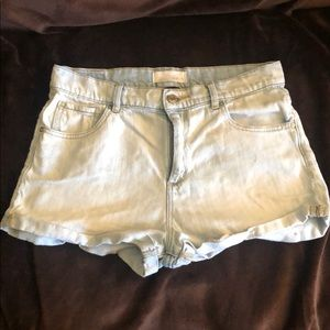 Garage retro high waisted shorts (faded wash)